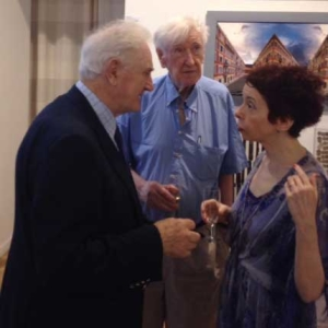 The late John Montague, author of the foreword to An Art Lover's Guide to the French Riviera by Patrick J Murphy in conversation with the author, Patrick, and John's wife, Elizabeth Waddell, at the launch of An Art Lover's Guide to the French Riviera in Nice on 13th July, 2016.